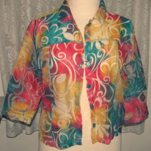 TURQUOISE RED YELLOW Sheer Blouse Shirt Size Large